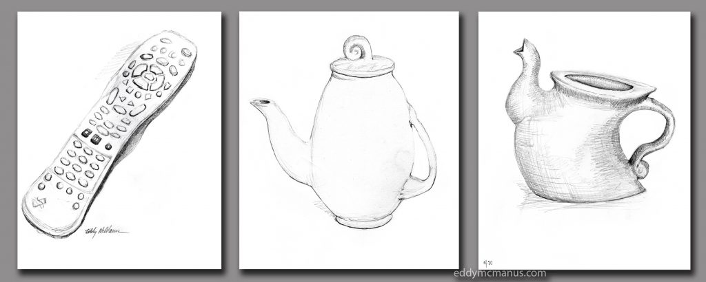 Remote Control and two teapots drawn in pencil
