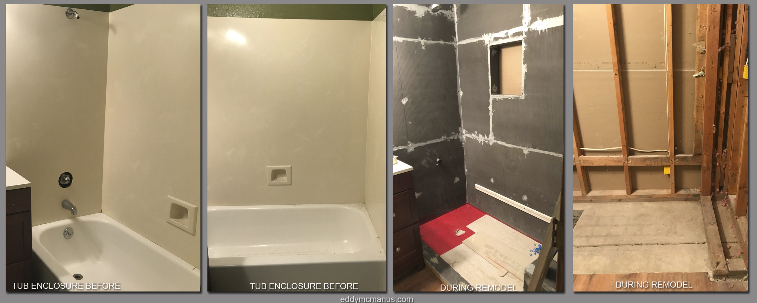 Before and During Images of Tub Enclosure