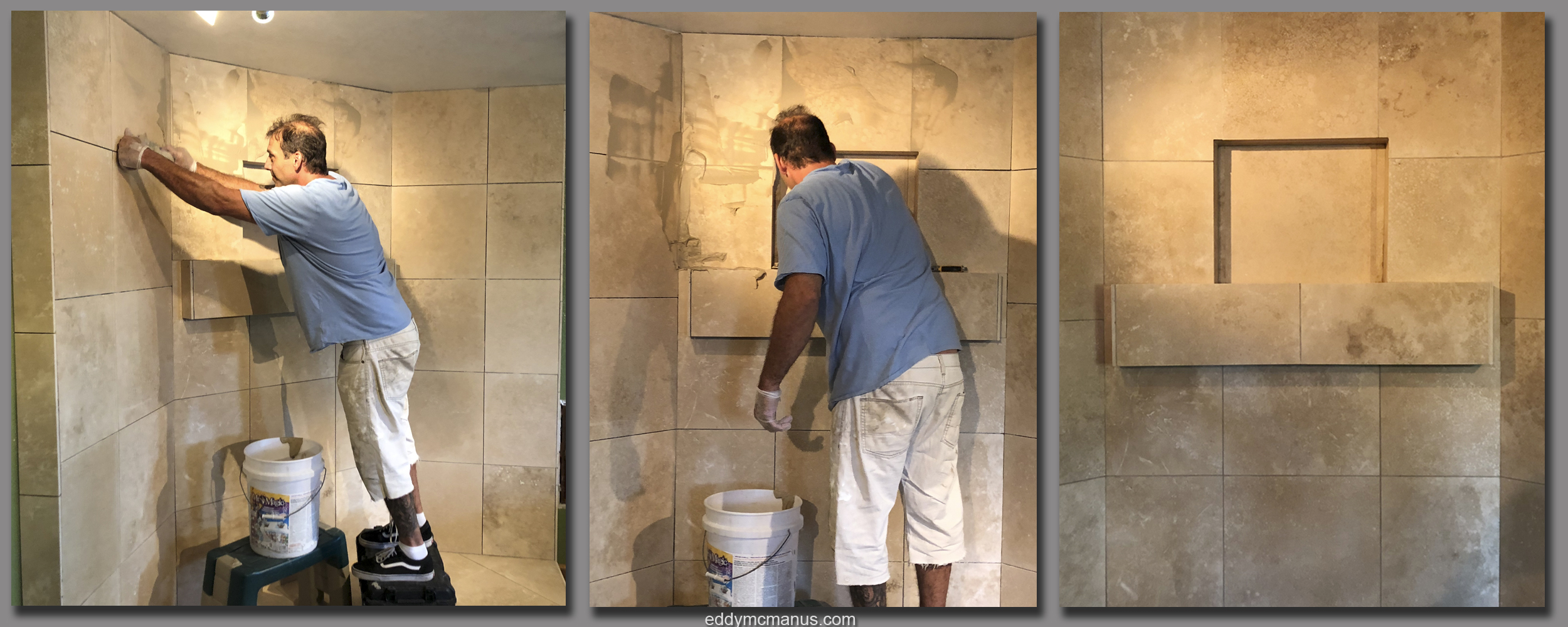 During - Finishing of Travertine Tile Remodeling Project with Mud Grout