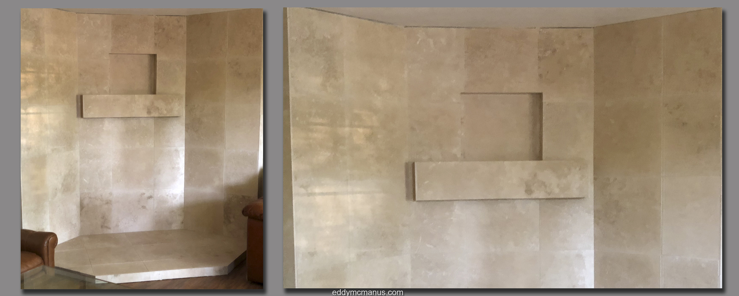 AFTER - Finished Travertine Tile Remodeling Project