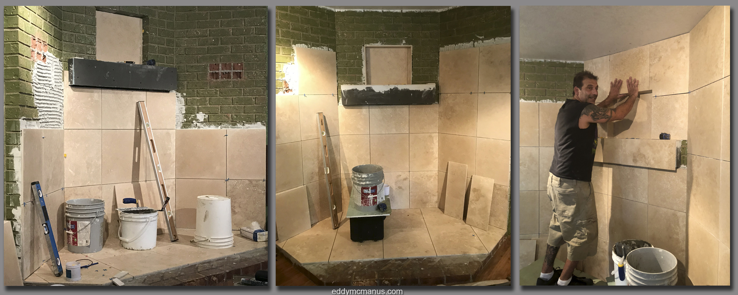 During - Applying Travertine Tile Remodeling Project